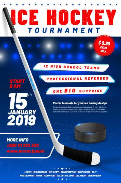 ilustrações, clipart, desenhos animados e ícones de modelo de cartaz de torneio de hóquei no gelo com vara e puck - hóquei