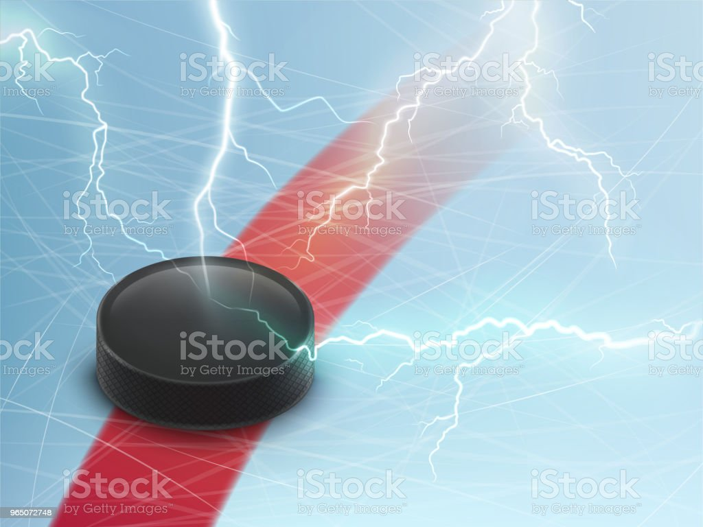 Ice hockey vector banner with puck and lightnings royalty-free ice hockey vector banner with puck and lightnings stock vector art & more images of advertisement