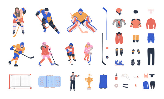 Ice hockey vector colorful collection with young and adult players, referee, equipment and supplies. Flat trendy cliparts. Isolated cartoon  illustrations
