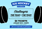 Ice Hockey Web Banner with Hockey Puck for Tournament Poster or Flyer Template