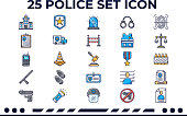 This is an Icon Set about Police,law,justice,law enforcement with Handcuffs,Shackles,Balnece,ID,Helmets,Mug Shot an more Icons.