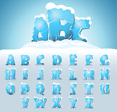 Ice letters with snow on the top, vector font