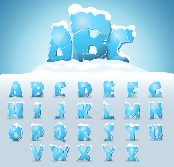 Ice letters with snow Ice letters with snow on the top, vector font ice stock illustrations