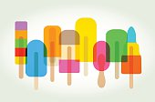 Colourful overlapping silhouettes of Ice lolly or Popsicle. EPS10 file, best in RGB, CS5 version in zip