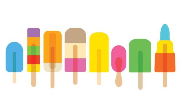 stockillustraties, clipart, cartoons en iconen met ijs lollies of ijslollys - ijslollie bevroren zoetigheid