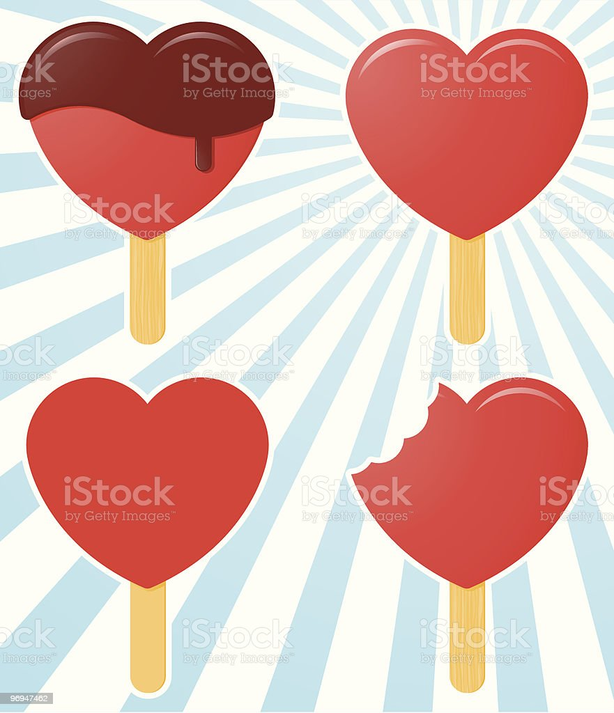 Ice lolly/popsicle - heart shape royalty-free ice lollypopsicle heart shape stock vector art & more images of blue