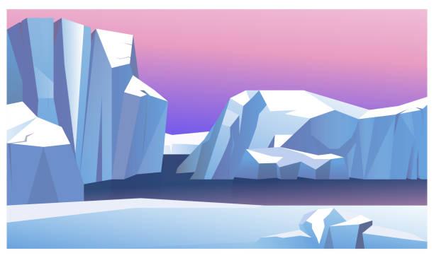 Ice mountain in water vector illustration Ice mountain in water vector illustration. Northern lights behind icebergs. North pole illustration arctic stock illustrations