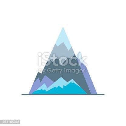 Ice mountain peak icon in flat style. Sharp rock symbol isolated on white background
