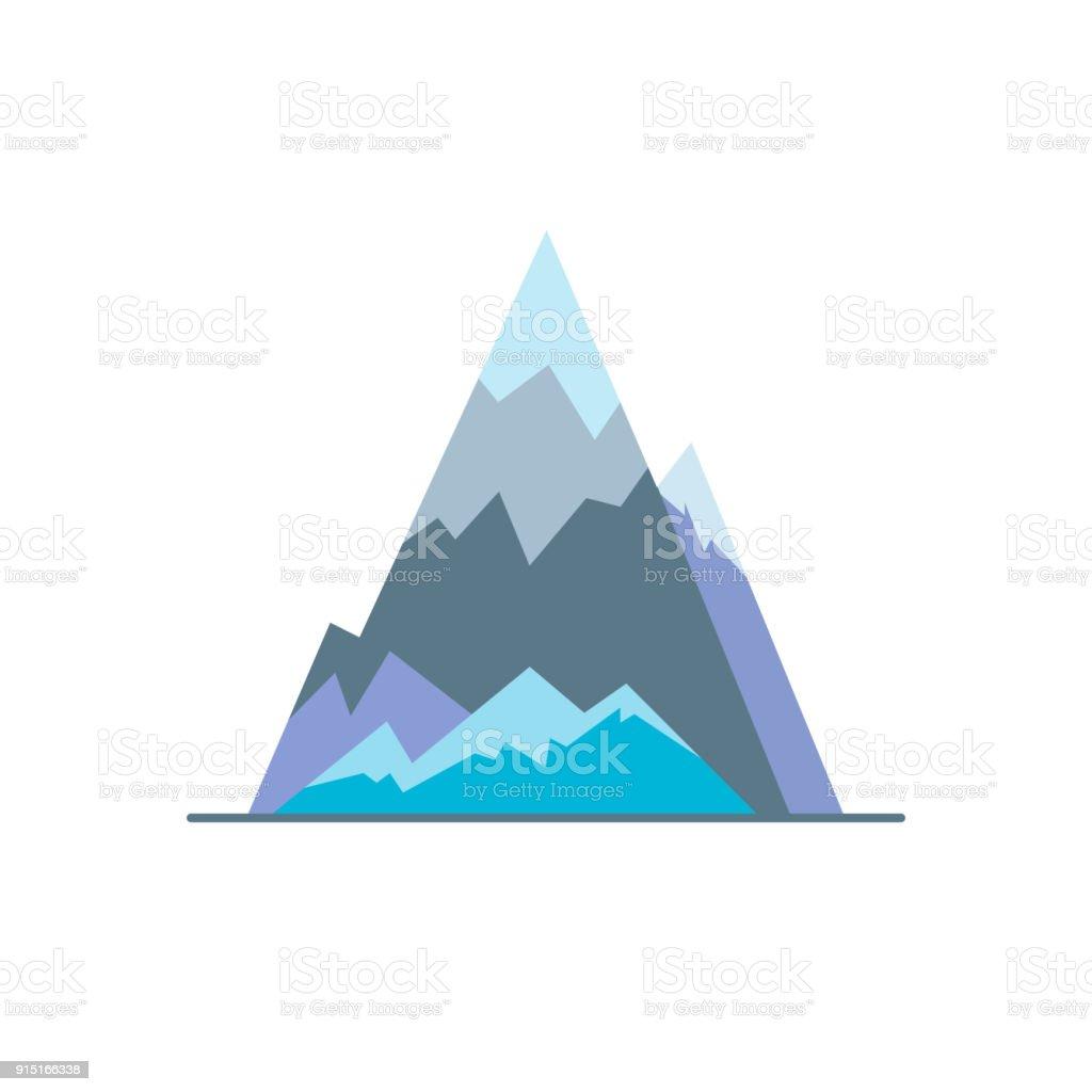 Ice mountain peak icon in flat style vector art illustration