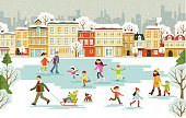 Winter holiday scene with chilren, men and women at the park ice skating rink.