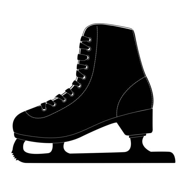 Ice skate, black silhouette icon Ice skate, black silhouette icon. Vector illustration isolated on white background figure skating stock illustrations