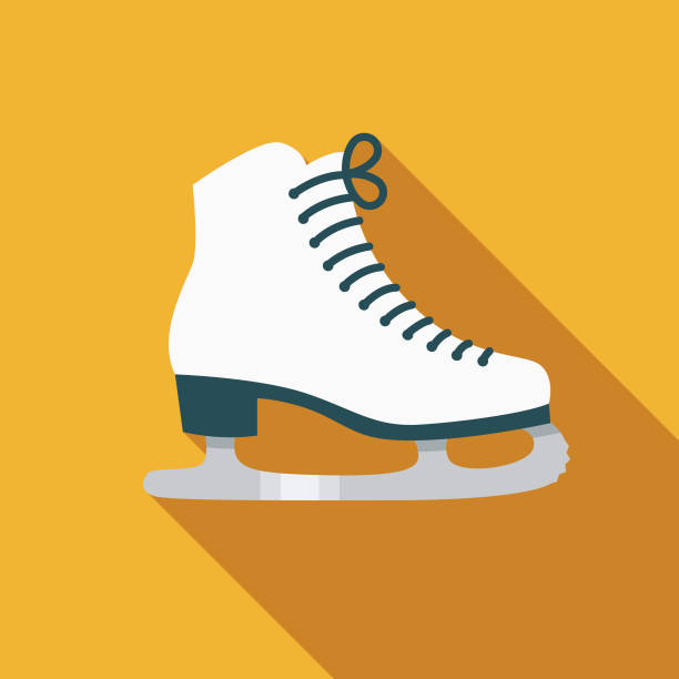 Ice Skate Flat Design Canadian Icon with Side Shadow A pastel colored flat design Canadian icon with a long side shadow. Color swatches are global so it's easy to edit and change the colors. figure skating stock illustrations
