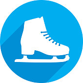 Vector illustration of a blue ice skate icon in flat style.
