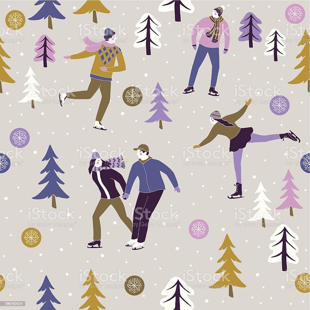 Ice Skaters Enjoying The Winter Festive Season Stock Vector Art ...
