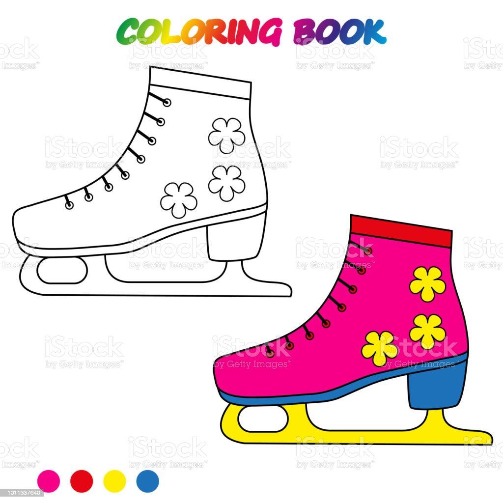 Schlittschuhe Malvorlagen Arbeitsblatt Spiel Für Kinder Malbuch  Vektorcartoonillustration Stock Vektor Art und mehr Bilder von Abstrakt