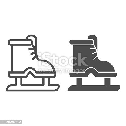 istock Ice skates line and solid icon, winter sport concept, boot with blade sign on white background, equipment for figure skating and hockey icon in outline style for mobile concept. Vector graphics. 1285387428