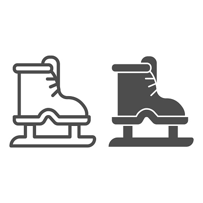 Ice skates line and solid icon, winter sport concept, boot with blade sign on white background, equipment for figure skating and hockey icon in outline style for mobile concept. Vector graphics.