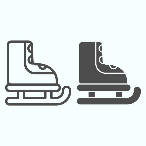 溜冰線和固體圖示。冬季運動專案。聖誕向量設計理念,白色背景上輪廓樣式象形圖,用於網路和應用。 - 健康科技 幅插畫檔、美工圖案、卡通及圖標