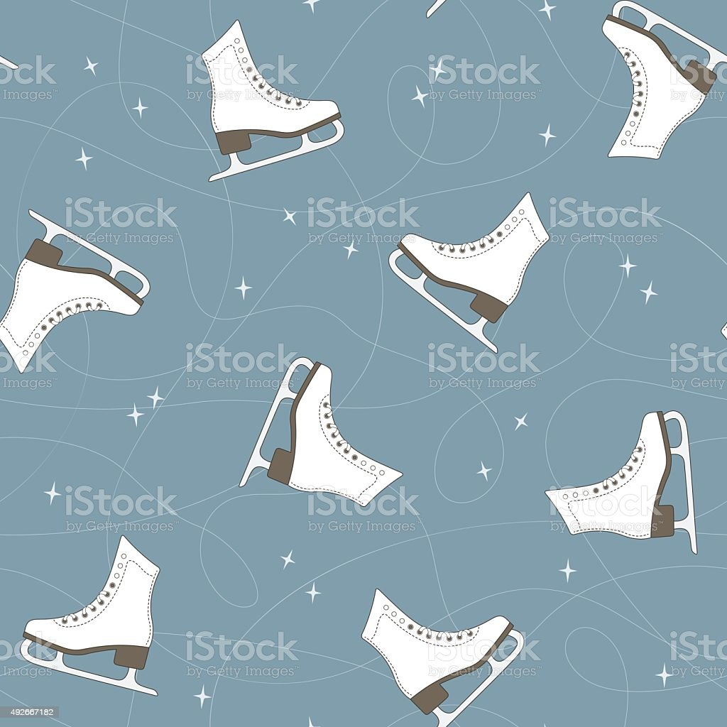 Seamless pattern with ice skates, blade trails and sparkles
