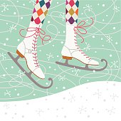 Vintage Ice Skates on an Ice Rink.
