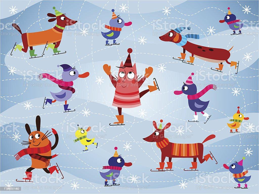 Ice skating animals vector art illustration