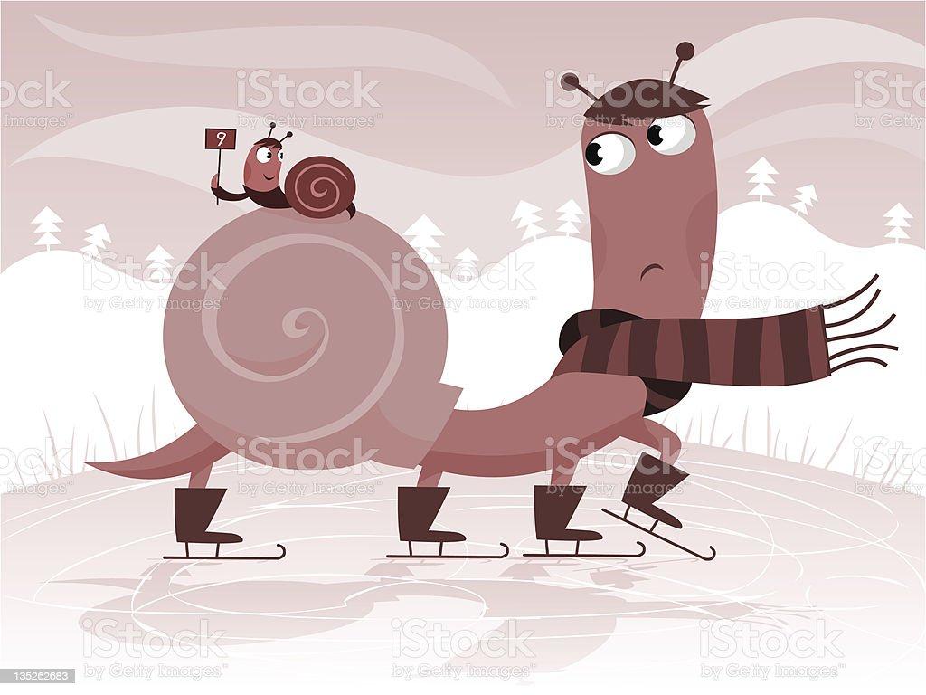 Ice skating cartoon snail vector art illustration