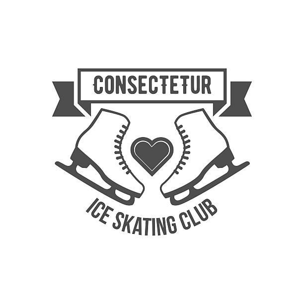 Ice Skating label logo design elements Ice Skate label logotype design. Ice skating boot, speed scating, figure skating. Vintage winter sportsd logo design. Monochrome badge. figure skating stock illustrations