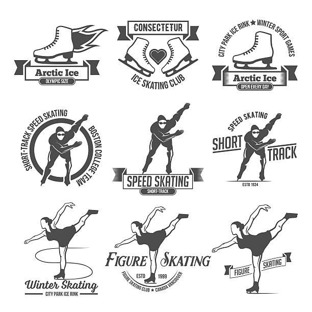 Ice Skating label logo set Ice Skate label logo design. Ice skating boot, speed scating, figure skating. Winter sports. Retro logo design. Old school sport logo. Monochrome badges. figure skating stock illustrations