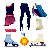 Ice skating or figure skating equipment, sport clothing set. Vector flat icons of dress and leggings, skates, skate bag, protective elbow pad golden medal. Competitive sport or recreational activity.