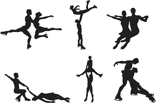 Ice skating silhouette collection Ice skating silhouettes. figure skating stock illustrations