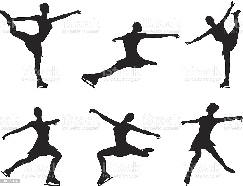 Ice skating silhouette collection royalty-free ice skating silhouette collection stock vector art & more images of activity