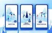 Ice skating simple family, mobile app template set, vertical layout, smartphone ui design, isometric minimal people illustration, 3d vector winter sport kids, romantic couple together, skating rink