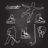 Ice Skating Sketched Elements