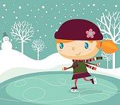 Happy ice skating girl. Zip contains AI,PDF and hi-res jpeg.