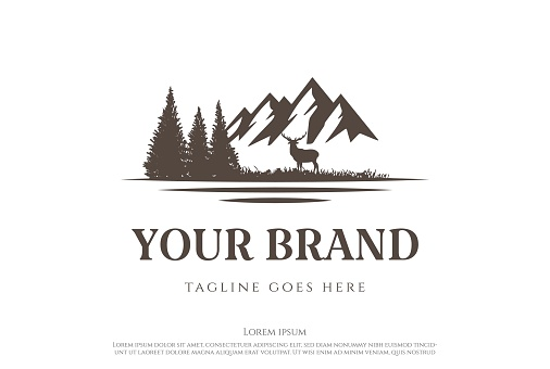 Ice Snow Mountain with Pine Cedar Conifer Evergreen Cypress Hemlock Larch Fir Forest and Lake River Creek for Hunting Adventure Logo Design Vector