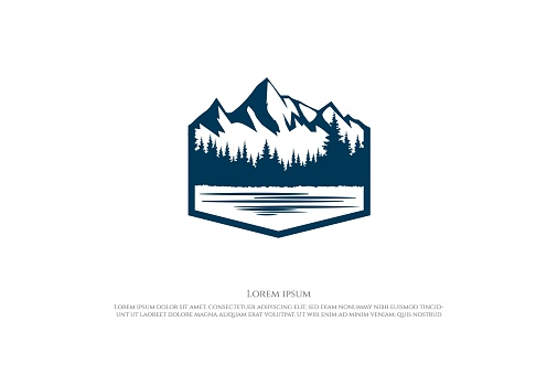 Ice Snow Mountain with Pine Cedar Spruce Conifer Evergreen Fir Larch Hemlock Cypress Trees Forest and Creek River Lake for Camp Adventure Logo Design Vector