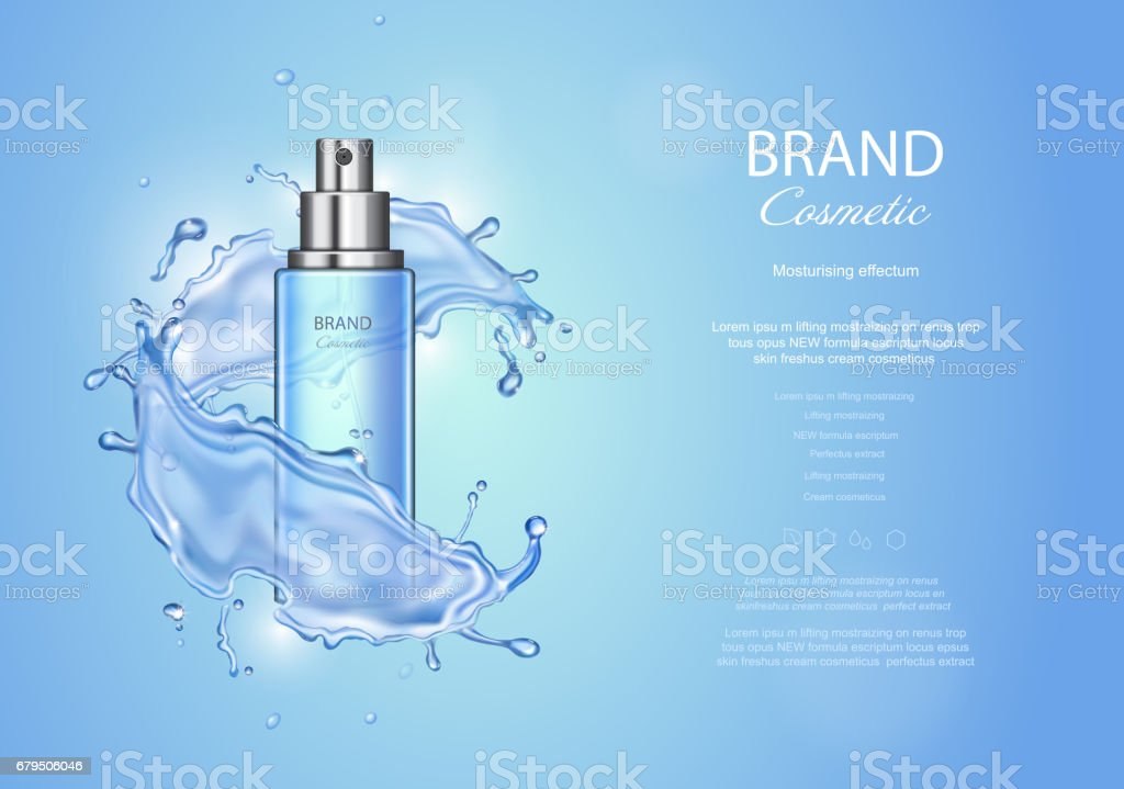 Ice toner ads on blue background. Spray bottle water drops elements, realistic cosmetics product vector illustration vector art illustration