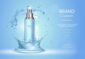Ice toner ads with blue water splash. Spray bottle and fresh sparkling drops, realistic 3d