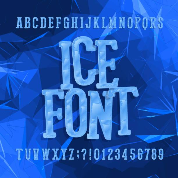 eis-schrift. alphabet-schriftart. buchstaben und zahlen. abstrakter blauer hintergrund. - gefroren stock-grafiken, -clipart, -cartoons und -symbole