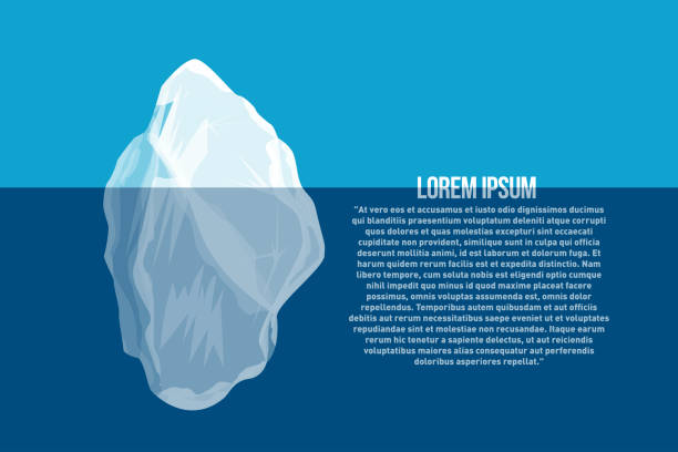iceberg above and under water. north sea poster with abstract iceberg - antarctica travel stock illustrations