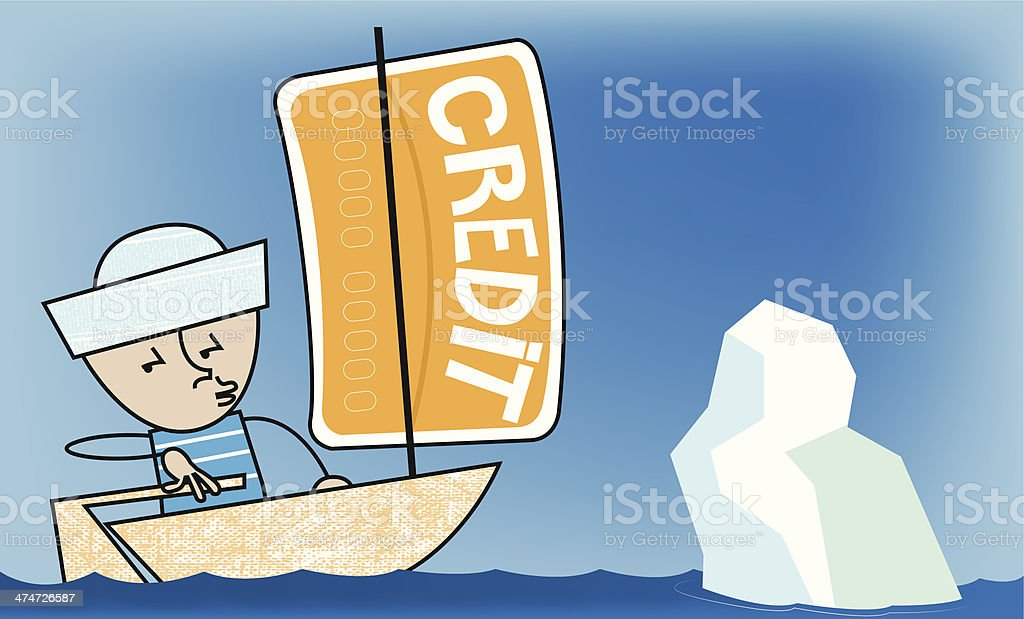 Iceberg ahead! vector art illustration