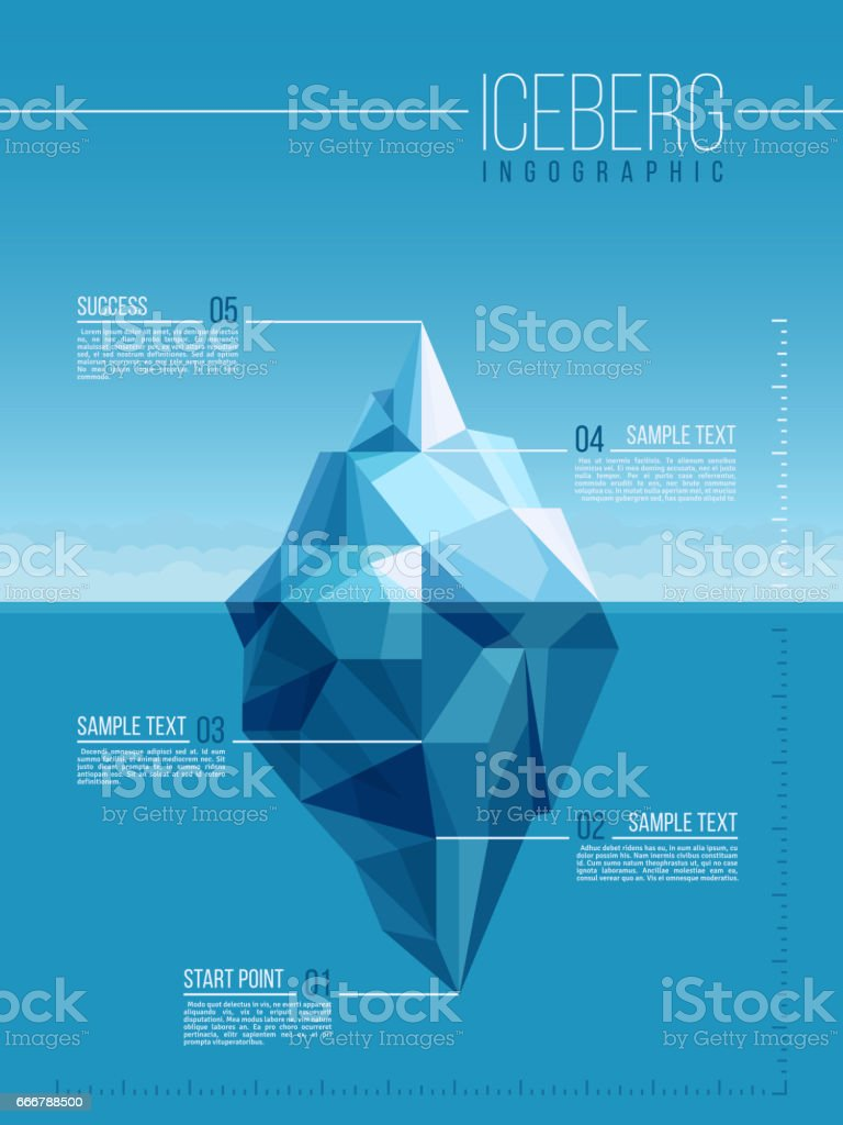 Iceberg and under water antarctic ocean vector infographic template vector art illustration