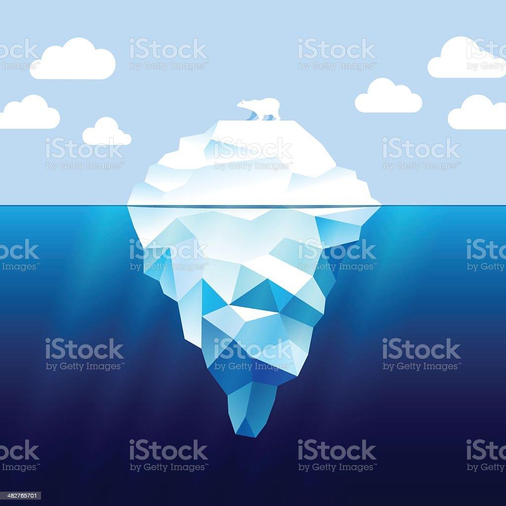 Iceberg and white bear vector art illustration