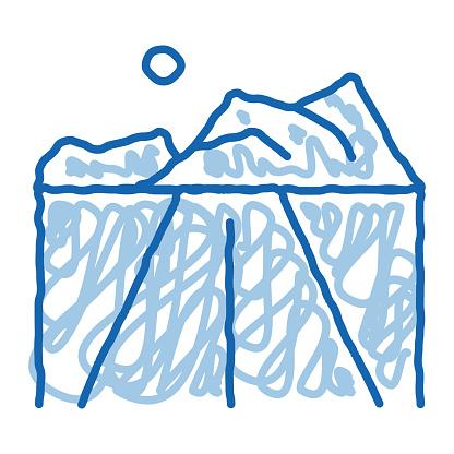 Iceberg doodle icon hand drawn illustration