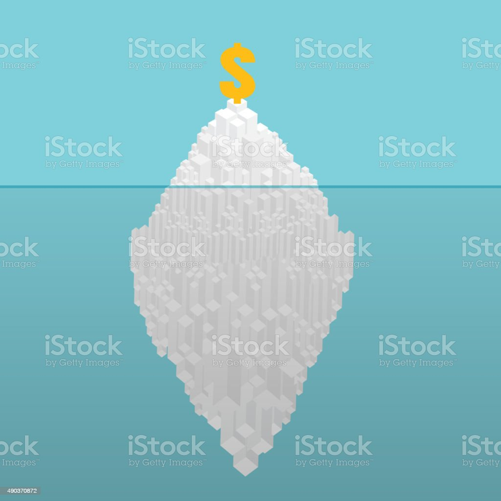 Iceberg financial concept. Hidden potential concept.  Iceberg of vector art illustration