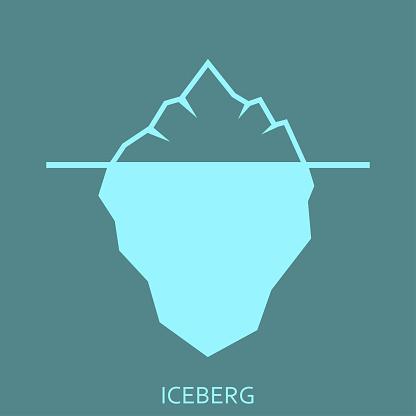 Iceberg flat icon. Ice berg emblem or label. Vector illustration.