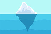 istock Iceberg floating in ocean. Arctic water, sea underwater with berg and freezing light. Polar or antarctica melting mountain vector landscape 1280787210