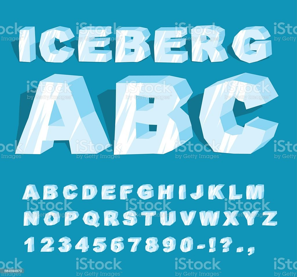 Iceberg font. Ice alphabet. Set of letters from cold ice. vector art illustration