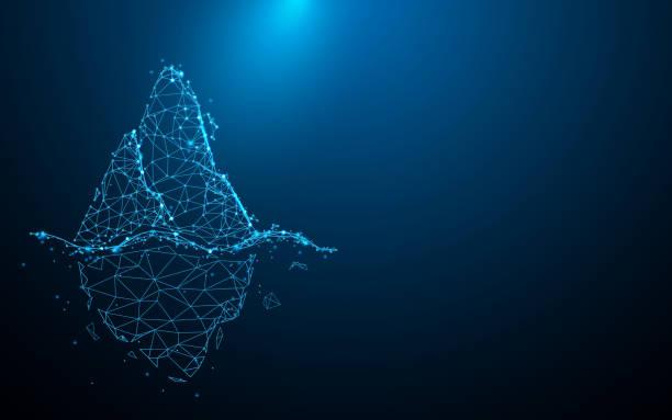 ilustrações de stock, clip art, desenhos animados e ícones de iceberg form lines, triangles and particle style design. illustration vector - iceberg