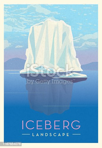 Vector illustration of a Iceberg frozen northern glacier landscape scenic poster design with text. Vintage texture overlay. Fully editable EPS 10.